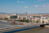 Budapest, Hungary - Panorama of the City with Elizabeth Bridge and the Danube
