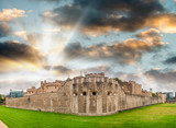 Sunset panoramic view of Tower of London, UK