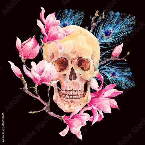 Watercolor human skull and pink flowers Magnolia