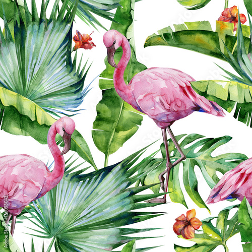 Cotton fabric Seamless watercolor illustration of tropical leaves, dense jungle and pink flamingo birds. Pattern with tropic summertime motif may be used as background texture, wrapping paper, textile,wallpaper.