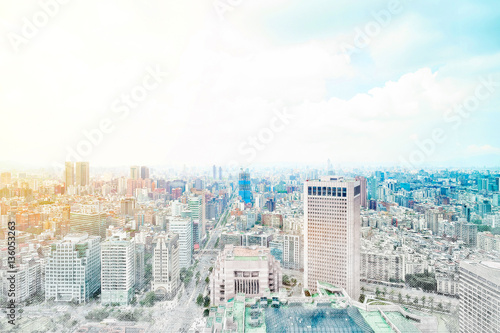 Poster Asia Business concept for real estate - panoramic modern cityscape building bird eye aerial view under sunrise and morning blue bright sky in Taipei, Taiwan