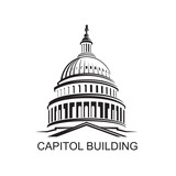 Unated States Capitol building icon in Washington DC - 136057870