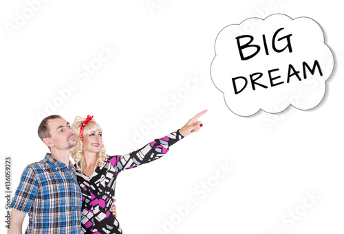Funny retro family couple embracing and pointing up on dream Poster