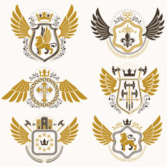 Heraldic emblems with wings isolated on white backdrop. Collecti