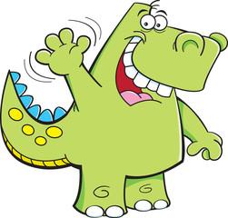 Cartoon illustration of a dinosaur waving.