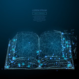 Fototapety Abstract image of a open book in the form of a starry sky or space, consisting of points, lines, and shapes in the form of planets, stars and the universe. Vector business