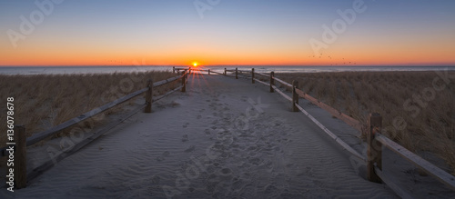 Pathway to the beach during a sunrise in New Jersey  - 136078678