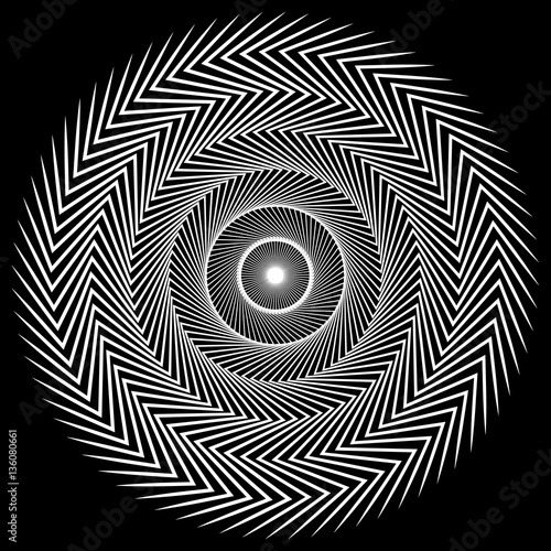Circular spiral element. Abstract geometric circle element. - 136080661