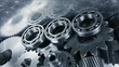 Titanium bearings and gears in motion, aerospace engineering parts