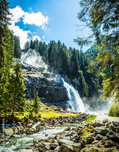 Waterfall at Zillertal Alps in Austria - 136086219