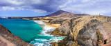 Beautiful volcanic nature and beaches of Lanzarote.Papagayo beac