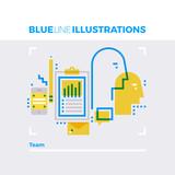 Team Blue Line Illustration.