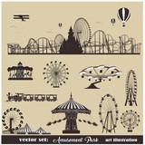 Vector illustration set.Roller Coaster Silhouette .Carousel