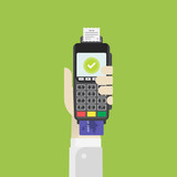 Terminal with credit card in hand. Flat vector illustration EPS10