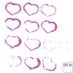 Set of grunge vector hearts. Design elements. Retro background.