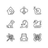 Line icons. Garden animals. Flat symbols