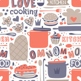 Cooking seamless pattern retro style with kitchen and baking items vector.