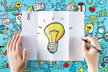Light Bulb with colorful illustrations