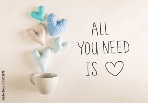 All You Need Is Love message with blue heart cushions Poster