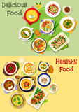 Soup dishes icon set for dinner, lunch menu design