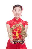 young beautiful asian woman in chinese new year