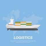 Ship with cargo containers in the background of the world map. Logistic concept flat vector illustration for business.