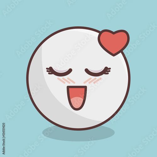 emoticon face kawaii style vector illustration design - 136131420
