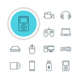 Vector Illustration Of 12 Gadget Icons. Editable Pack Of Camcorder, Usb Card, Headset And Other Elements.