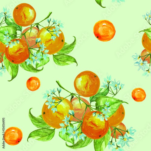 Fototapeta Seamless vintage pattern. On the branches of an orange, citrus, flowers and leaves. Possible pattern for a different design. Manual schedule