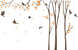 Silhouette of Birds with tree and birdcage - 136137688
