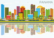 Panama Skyline with Color Buildings, Blue Sky and Reflections.