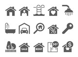 real estate black and white icons