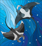 Illustration in the style of stained glass with two manta rays manta rays on the background of water and air bubbles