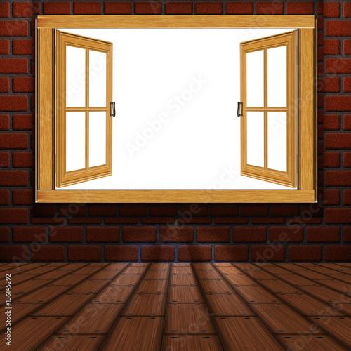 Wooden Window in Room - 136145292