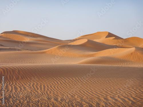 Wüste im Oman in goldenes Licht getaucht Poster