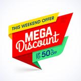 Mega discount weekend special offer banner vector illustration
