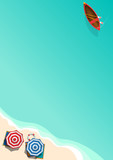 Summer concept, vector background. Beach and sea with umbrella a