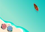 Summer concept, vector background. Beach and sea with umbrella a