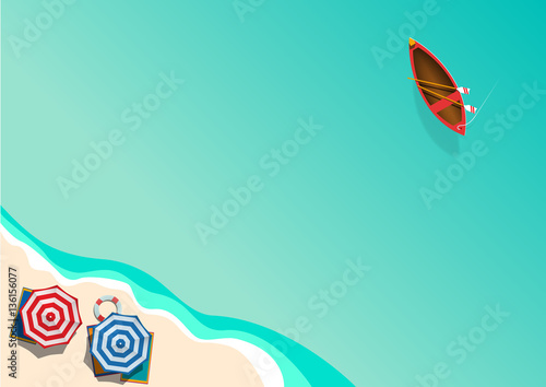 Foto op Canvas Groene koraal Summer concept, vector background. Beach and sea with umbrella a