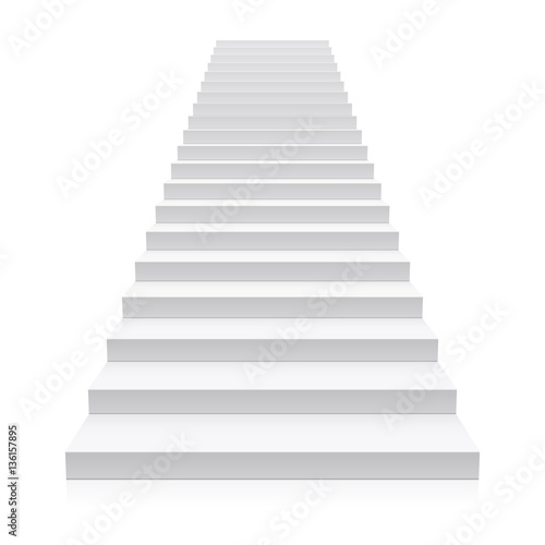 Front view of white staircase
