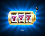 Triple Lucky sevens slot machine casino jackpot banner,  777