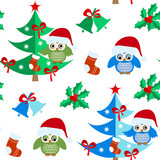 Seamless pattern with Christmas elements Christmas tree, owl, bell, socks.