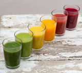 Colored Fruit smoothies