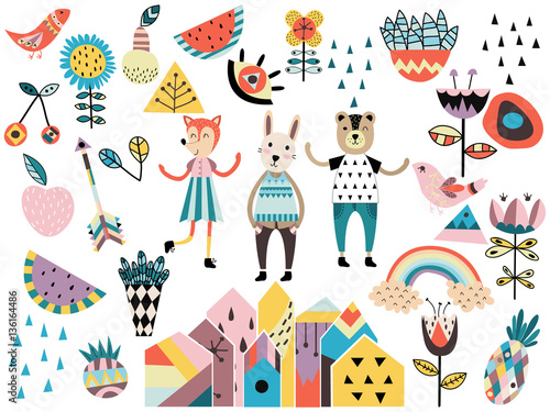 Materiał do szycia Set of cute scandinavian style elements and animals.