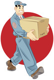 An illustration of a delivery person carrying a box.