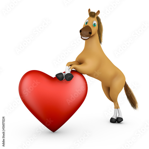 Funny horse next to a red heart. 3d rendering.