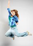 dancer woman posing on studio background