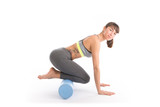 Portrait of attractive woman doing exercises. Brunette with fit body on foam roller. Healthy lifestyle and sports concept. Isolated on white. - 136173662