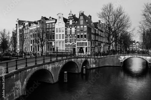 Amsterdam, Netherlands canals and bridges Poster
