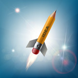 Pencil in the form of a rocket flying in the sky. Creative idea